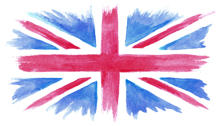 Watercolor hand painted UK flag, watercolor British flag Фото со стока