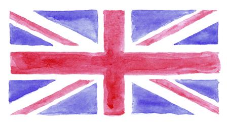 bandera reino unido: Watercolor hand painted UK flag, watercolor British flag Foto de archivo