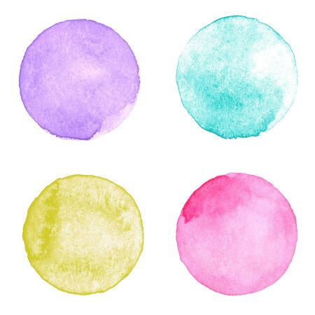 textured paper: Watercolor multicolored circles collection. Watercolor stains set isolated on white paper textured background