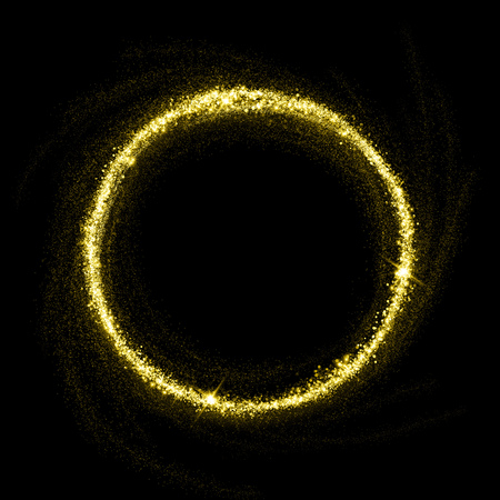 Gold glittering star dust circle. Twinkling ellipse