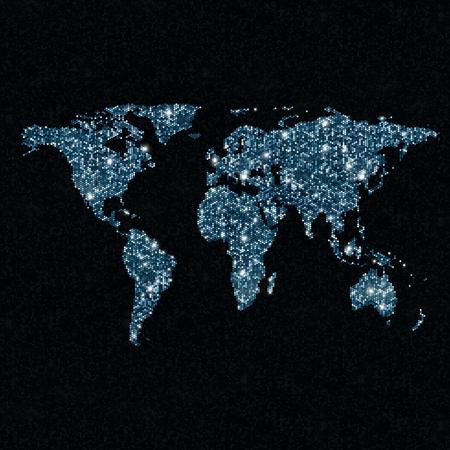 star map: Glittering light world map. Sparkling world map Stock Photo
