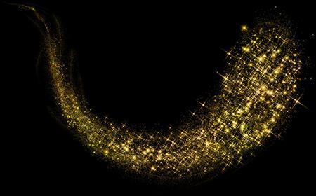 gold dust: Glittering gold cosmic dust tail. Twinkling glitter.