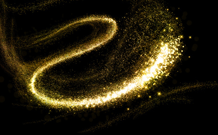 black train: Glittering gold cosmic dust tail. Twinkling glitter.
