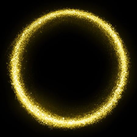 elipse: Gold glittering star dust circle. Twinkling ellipse