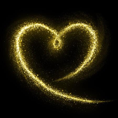 Glittering heart gold cosmic dust tail. Twinkling glitter.