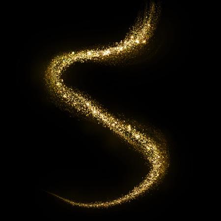 Glittering gold cosmic dust tail. Twinkling glitter.