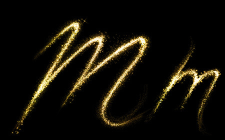 letter w: M letter of gold glittering stars dust flourish tail. Glittering font concept