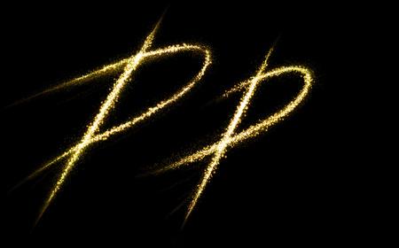 luminous: P letter of gold glittering stars dust flourish tail. Glittering font concept