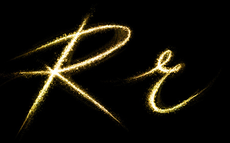 r: R letter of gold glittering stars dust flourish tail. Glittering font concept