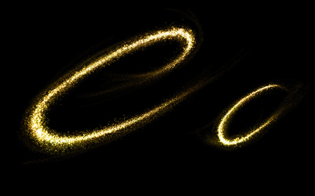 c a w: C letter of gold glittering stars dust flourish tail. Glittering font concept