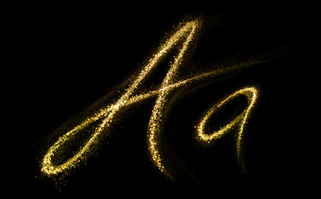 abstract letters: Letter A of gold glittering stars dust flourish tail. Glittering font concept