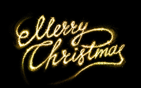 text background: Greeting Merry Christams gold fire writing on background