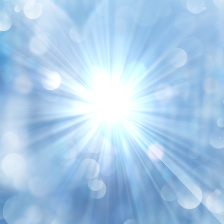 Brilliance of sun beams sparkle from center on twinkling blue luminous abstract background.