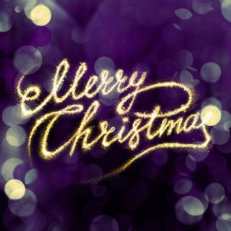 christams: Greeting Merry Christams gold fire writing on bokeh background Stock Photo