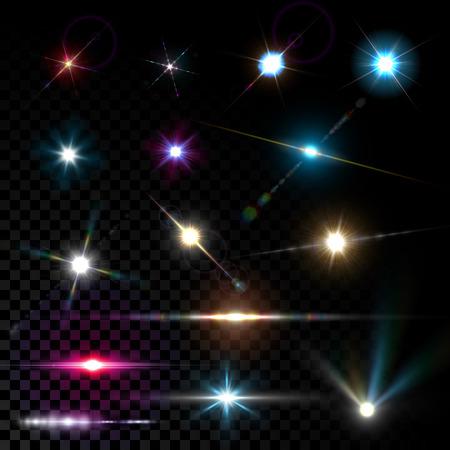 magia: Lentes brillantes vector realista bengala efecto de luz de estrellas y destellos explosiones en el fondo transparente.
