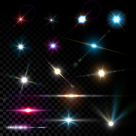 lens: Realistic vector glowing lens flare light effect with stars and sparkles bursts on transparent background.