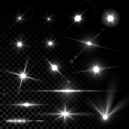 stars: Realistic vector glowing lens flare light effect with stars and sparkles bursts on transparent background.