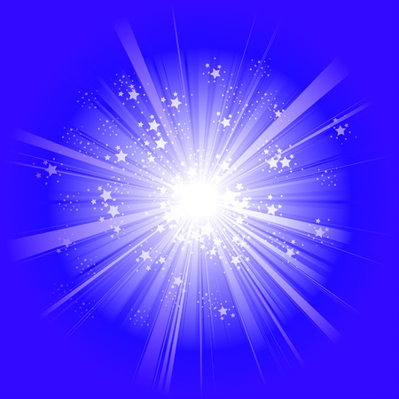 the light rays: Light exploding rays with stars on blue background