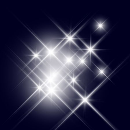 white star line: Vector glittering stars with light diffraction