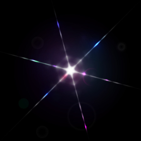 diffraction: Bright sparkling star with lens flare light diffraction