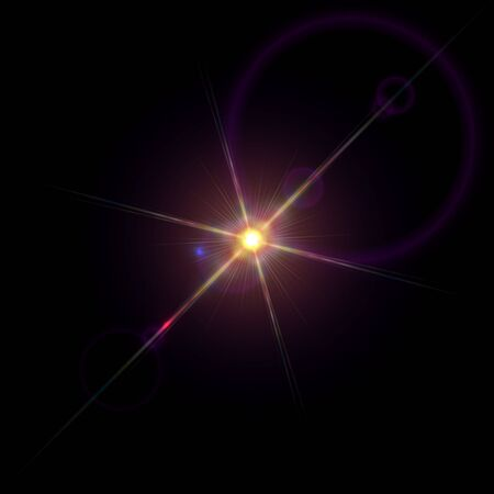 agleam: Bright sparkling star with lens flare light diffraction
