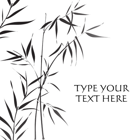 Bamboo branches outlined in traditional asian black and white style Stock Illustratie