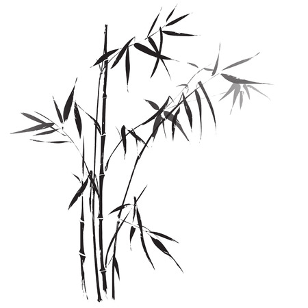 Bamboo branches outlined in traditional asian black and white style Çizim