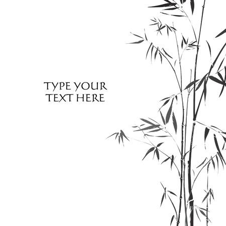 伝統的なアジアの黒と白のスタイルで説明されている竹の枝