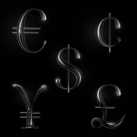 currency symbols: Vector currency symbols set of silver metal