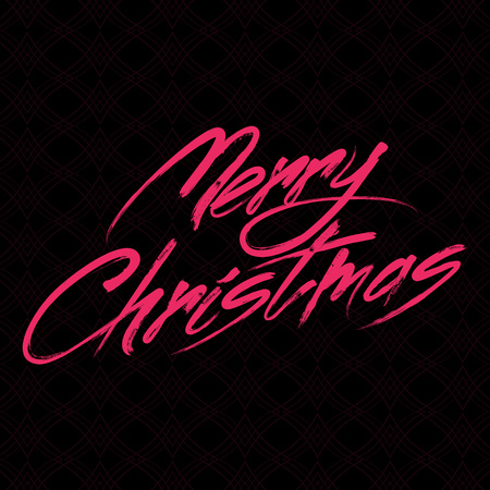 merry christmas: Grreting card with vector brush painted color writing Merry Christmas