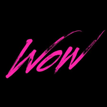 wow: Tarjeta Grreting con la escritura de color cepillo de vectores pintado Wow Vectores