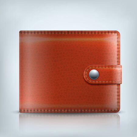 billfold: Realistic vector brown leather textured wallet with clip isolated on white background