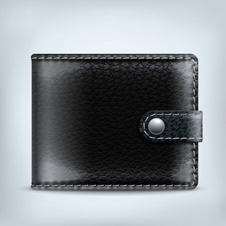 billfold: Realistic vector black leather textured wallet with clip isolated on white background Illustration
