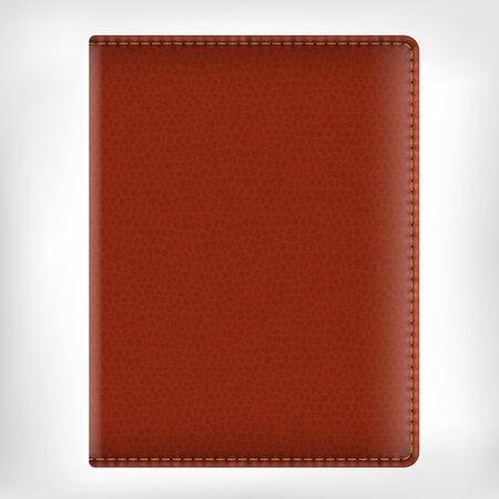 Diario texture realistiche vettore in pelle marrone copertina del libro isolato su sfondo bianco