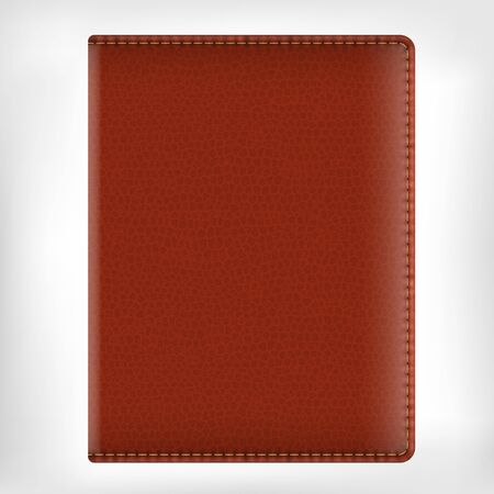 diary: Realistic vector brown leather texture diary book cover isolated on white background