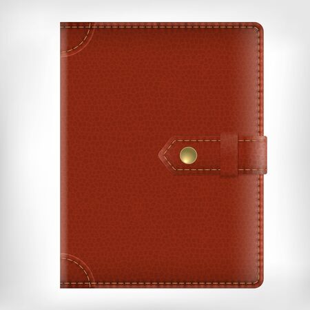 brown leather: Realistic vector brown leather texture diary book cover isolated on white background with clip Illustration