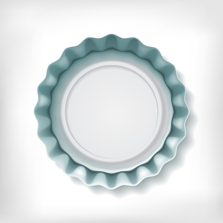 bottle cap opener: Realistic metallic bottle cap on white background