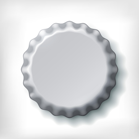 bottle opener: Realistic metallic bottle cap on white background