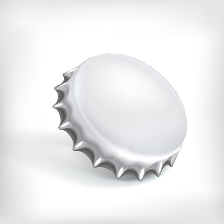 bottle cap: Realistic metallic bottle cap on white background