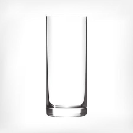 glass reflection: Empty tall drinking glass isolated on white background. Transparent glass. Illustration