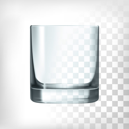 Empty drinking whiskey glass cup on trsnaprent background