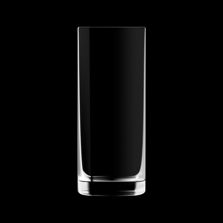 glass reflection: Empty tall drinking glass isolated on black background. Transparent glass.