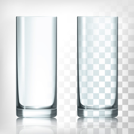 vidro: Vazio Copo bebendo copo alto no fundo thansparent