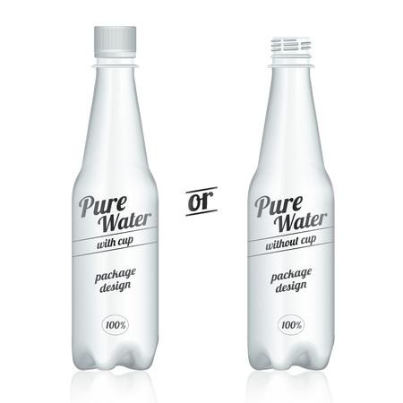 botella de plastico: paquetes de botellas de plástico modernas con la taza aislada en el fondo blanco. vista de presentación delante.
