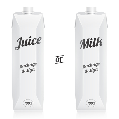 cardboard packaging: Modern juice or milk packages with cups isolated on white background. Front presentation view.