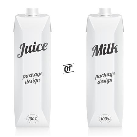 bebida: suco ou leite pacotes modernos com copos isolado no fundo branco. vista de apresenta