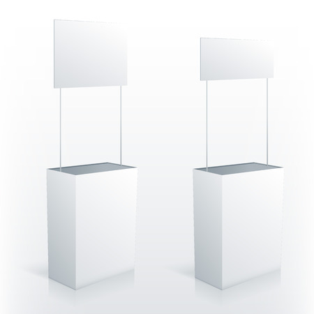 topper: Promotion counter table with square topper. Vector promo stand.