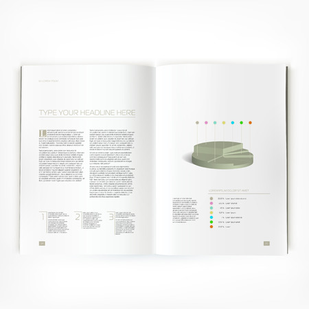 open magazine: Open magazine double-page spread with text and chart