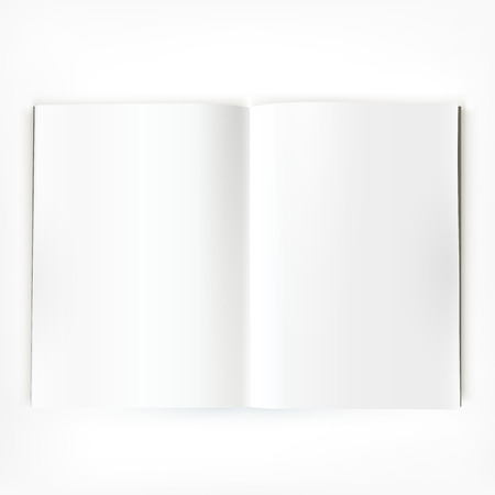 Open magazine double-page spread with clean blank pages.