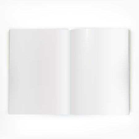Open white glossy catalog double-page spread with clean blank pages. Illustration